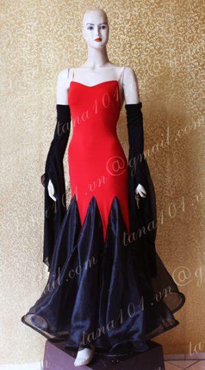 Váy khiêu vũ ballroom đỏ đen