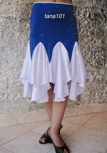 chân váy tập khiêu vũ trắng xanh