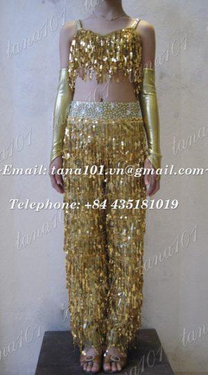 bộ quần áo khiêu vũ vàng