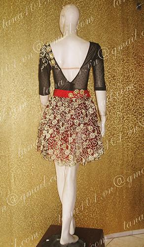 Váy khiêu vũ latin đen vàng