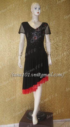 váy tập khiêu vũ đỏ đen