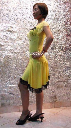 váy tập khiêu vũ vàng