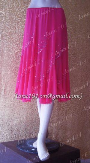 chân váy tập khiêu vũ hồng