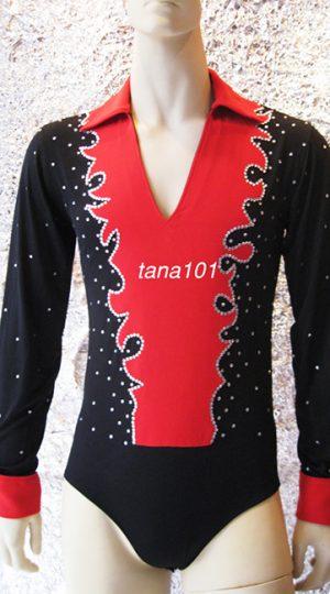 Áo latin nam màu đen pha đỏ
