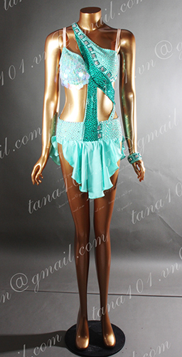 Váy nhảy latin xanh