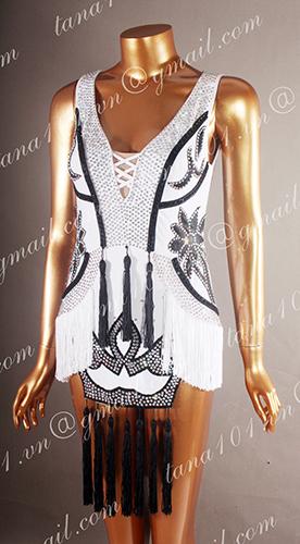 Váy nhảy latin trắng tua đen