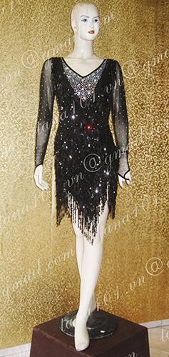 Váy khiêu vũ latin đen tua kim sa