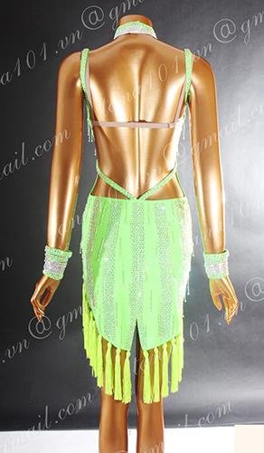 Váy nhảy latin xanh tua