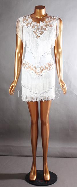 Váy nhảy latin trắng tua cườm