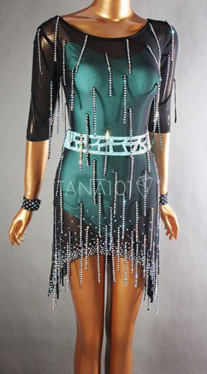 Váy nhảy latin đen tua đá
