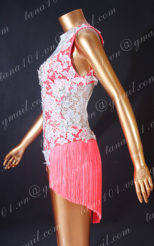 Váy nhảy latin hồng tua