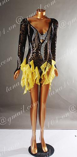 Váy nhảy latin đen bèo vàng