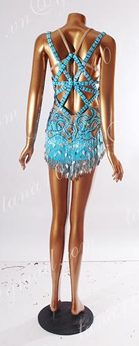 Váy nhảy latin xanh cườm