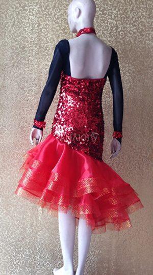 Váy nhảy latin đỏ kim sa