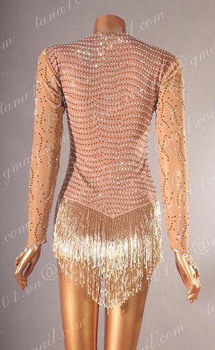 Váy nhảy latin da người tua cườm