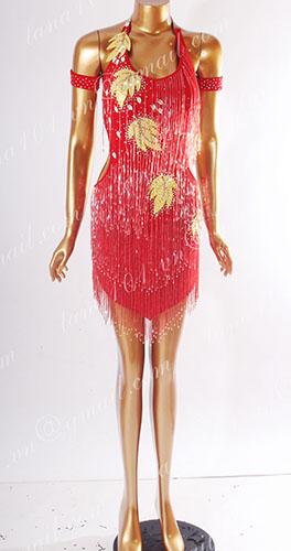Váy nhảy latin đỏ cườm