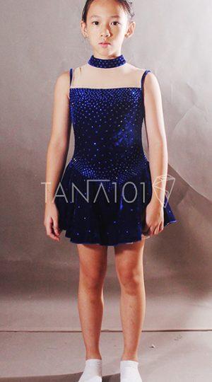 váy khiêu vũ bé gái nhung xanh