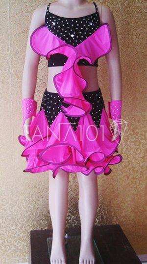 váy khiêu vũ bé gái đen hồng