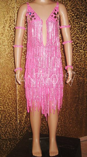 váy khiêu vũ bé gái hồng tua đá