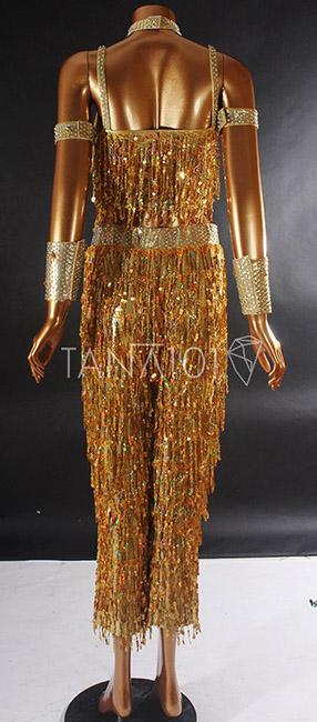Váy nhảy latin màu vàng tua kim sa