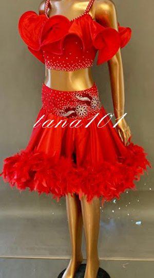 váy khiêu vũ đỏ lông
