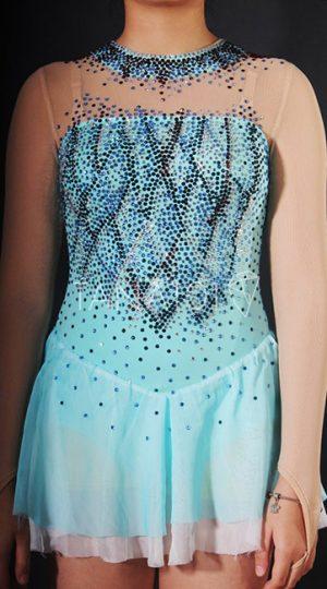 váy latin bé gái màu xanh