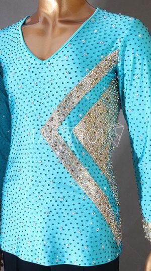Áo latin nam màu xanh