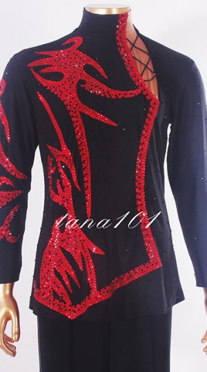 Áo latin nam đỏ đen